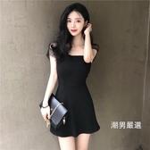 洋裝連身裙高腰性感chic一字肩抹胸小黑裙復古初戀裙子女夏黑色洋裝S-L