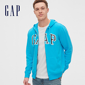 Gap男裝 Logo棉質刷毛內裡連帽外套 567863-綠松藍