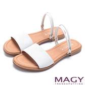 MAGY 夏日時尚 壓紋羊皮兩穿寬版平底涼拖鞋-白色