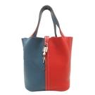 HERMES 愛馬仕 紅藍雙色拼接手提包...
