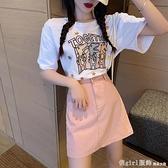 短袖裙裝 2021新款小清新兩件套裝粉色約會小裙子法式初戀桔梗甜美洋裝子 開春特惠