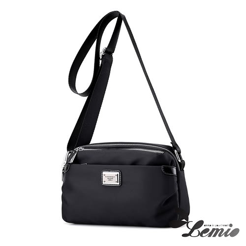 【Lemio】防潑水 牛津布 簡約隨身包(時尚黑)