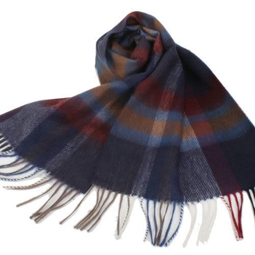 S.T.Dupont 羊駝毛混紗時尚格紋圍巾(深藍系) 989120-4