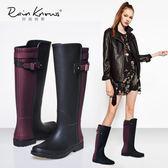 雨鞋  英倫春夏款雨靴高筒拼色女雨鞋橡膠鞋水靴水鞋機車馬靴