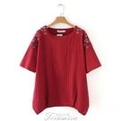 中老年媽媽裝2020新款夏裝短袖T恤女寬鬆民族風繡花棉麻上衣大碼 提拉米蘇