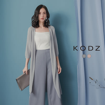 東京著衣【KODZ】KODZ-慵懶質感織紋長版薄外套(190049)