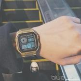 方形鋼帶手錶潮男金錶潮嘻哈復古金色防水女休閒運動電子錶小金錶  深藏blue