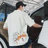 日系小狗短袖t恤男polo衫加肥加大碼潮流胖寬鬆青年韓版薄款夏季
