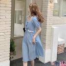 熱賣雪紡洋裝 春夏裝2021年新款胖mm藍色雪紡連身裙子chic法式初戀長裙大碼女裝 coco