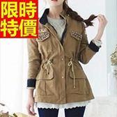 軍裝外套-流行時髦防風立領收腰修身版中長款女大衣64c18[巴黎精品]