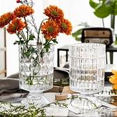 網紅復古浮雕輕奢水晶法式透明玻璃高腳大花瓶鮮插花水養花百合 遇見生活