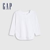 Gap女幼童 純棉花朵領長袖T恤 704223-白色