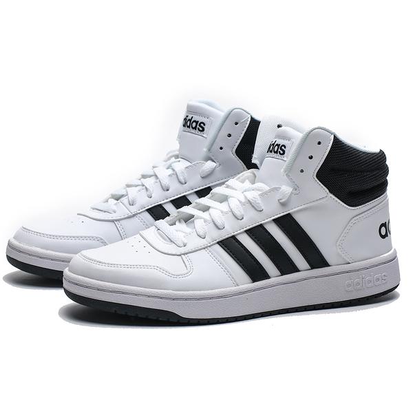 ADIDAS HOOPS 2.0 MID 白 黑LOGO 皮革 中筒 休閒鞋 男 (布魯克林) BB7208