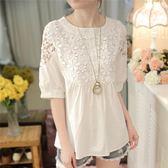 長版上衣 韓版女短袖白色中長款蕾絲女裝寬鬆收腰棉麻娃娃衫上衣LJ9768『miss洛羽』