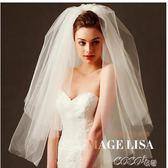 頭紗 韓式百搭款新娘結婚蓬蓬頭紗簡約素紗短款旅拍攝影婚紗頭紗 coco衣巷