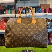 茱麗葉精品 二手精品【8成新】Louis Vuitton M41526 Speedy 30 經典花紋手提包#900