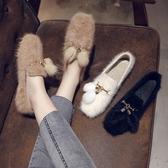 毛毛鞋女2020春季新款韓版百搭休閒淺口平底棉鞋加絨保暖豆豆鞋 藍嵐
