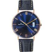 Max Max 義大利時尚羅馬風情簡約腕錶-海軍藍