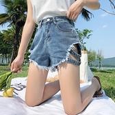 cec褲子女2020新款牛仔褲顯瘦百搭破洞褲直筒寬鬆超短褲女夏高腰 滿天星