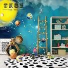 電視背景墻手繪太空宇宙兒童房星空星球壁紙...