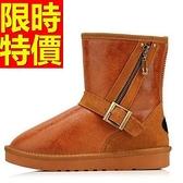 中筒雪靴-斜拉鏈銅質搭扣牛皮女靴子3色62p86【巴黎精品】