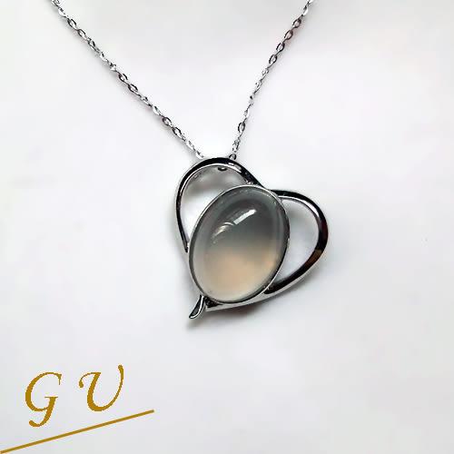 【GU鑽石】S02生日禮物情人節聖誕節禮物銀項鍊半寶石項鍊 GresUnic Adanbees 愛心造型月光石吊墜