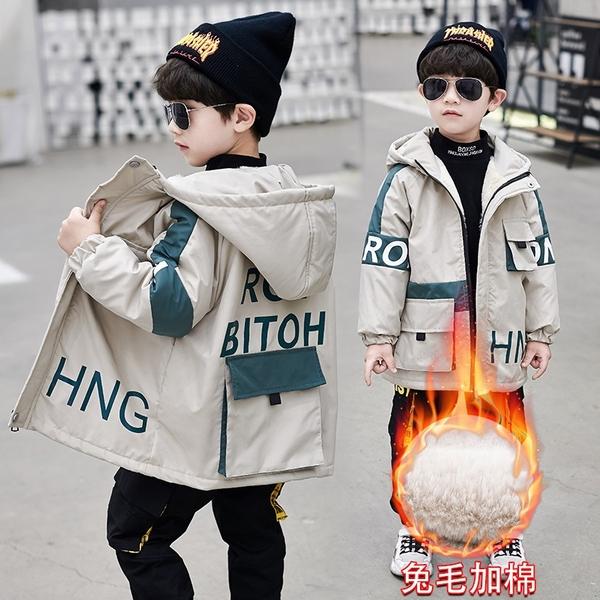 男童外套羽絨外套男孩 工裝秋冬男寶寶棉衣 風衣中大童韓版外套 加絨加厚夾克外套兒童棉服