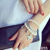 韓版簡約多層五角星流蘇手鐲學生百搭串珠波西米亞珍珠?條手?女