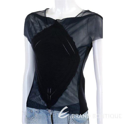 TREND黑色拼接紗質短袖上衣 0520834-01