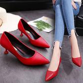 淺口高跟鞋細跟尖頭黑色工作鞋中跟單鞋貓跟鞋女 黛尼時尚精品