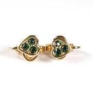 D'ORLAN 綠色水晶心型夾式耳環(綠色)990115-3