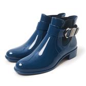 Petite Jolie  個性扣環切爾西短靴-蔚藍色
