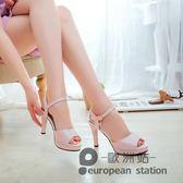 魚口涼鞋/新款韓版粗跟女夏季中跟高跟鞋水鑽一字帶夏天女鞋