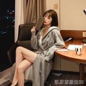 性感超長網紅睡袍女情侶浴袍到腳踝男個性潮睡衣純棉in韓版春夏 凱斯頓3C