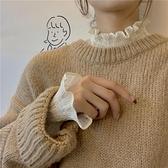 很仙的雪紡上衣毛衣內搭女秋冬新款木耳邊半高領長袖蕾絲打底衫潮 雙十一全館免運
