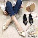 PAPORA時尚百搭休閒小包鞋跟鞋KS6587黑 / 米
