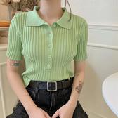 短袖T恤女夏季修身顯瘦短款針織polo衫韓版chic學生上衣