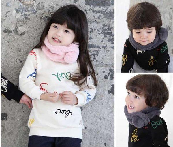 預購 - 秋冬新款男女孩純色圍巾新款兒童寶寶加厚毛絨保暖圍巾