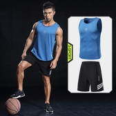 健身背心男運動套裝夏季寬鬆跑步肌肉訓練服無袖打底衫籃球速干衣