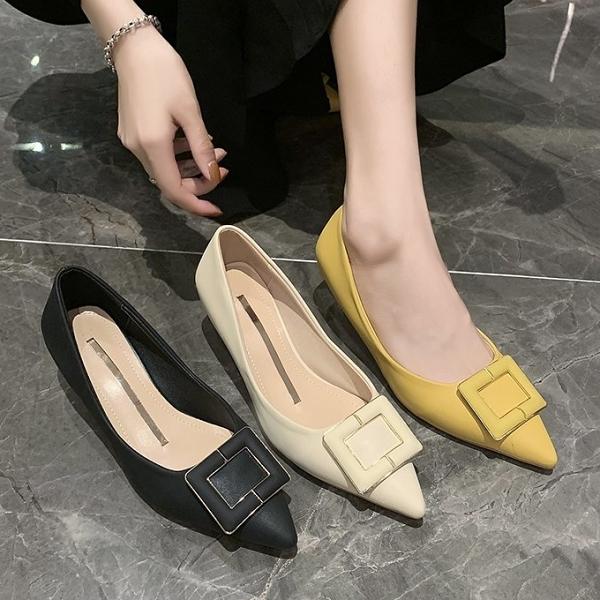 尖頭鞋.法式氣質純色鑲金邊方釦高跟包鞋.白鳥麗子