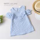 純棉 氣質水藍格紋露肩上衣 春夏童裝 女童上衣 女童短T 女童棉T 女童短袖 女童T恤