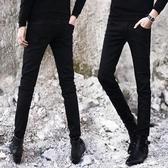 秋季彈力牛仔褲男士韓版修身小腳褲潮男裝青少年男生長黑色男褲子  極有家