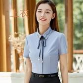 美之札[8Q060-PF]花邊襯衫領絲帶OL短袖襯衫上衣(附絲帶)~