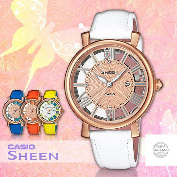 CASIO 卡西歐 手錶 專賣店 SHEEN SHE-4047PGL-7A 女錶 真皮錶帶 玫瑰金離子鍍金錶殼 施華洛世奇 全新品