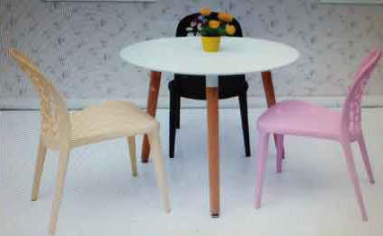 【南洋風休閒傢俱】造型桌椅系列 –泡泡椅+80cm筷子腳圓桌 餐椅 塑料椅 彩色靠背椅 (542-3)