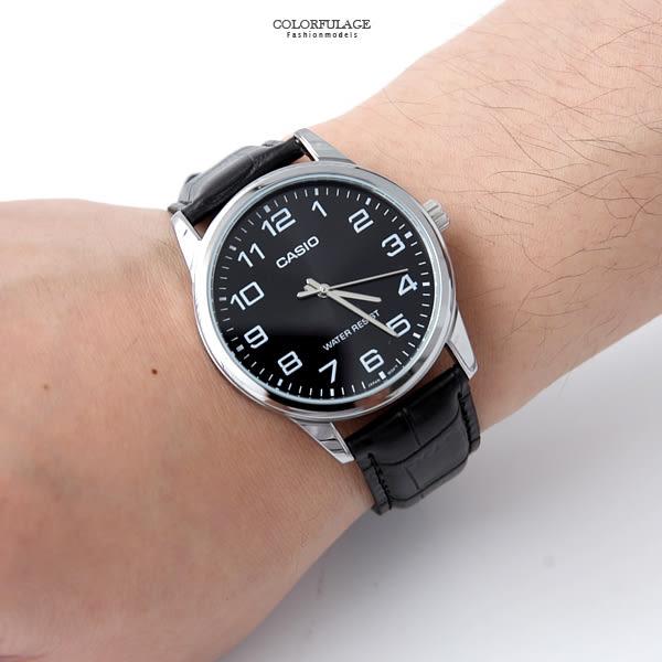 CASIO卡西歐數字刻度皮革錶 柒彩年代【NEC32】