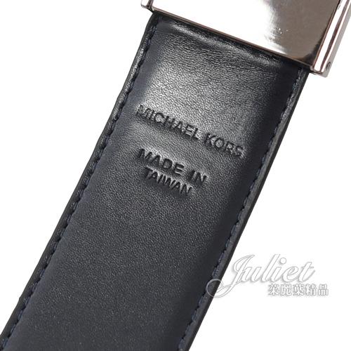 茱麗葉精品【全新現貨】 MICHAEL KORS 經典雙面雙色皮革寬版針扣皮帶.藍/黑