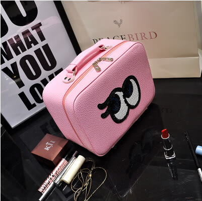 韓國手提化妝包大容量化妝箱 化妝品收納包 可愛旅行便攜