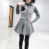 長袖洋裝-秋冬純色拼接針織女連身裙2色73pu7[巴黎精品]