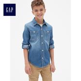 Gap男童 舒適純棉牛仔長袖襯衫 419555-中度水洗